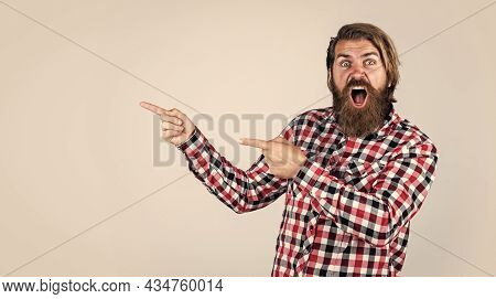 Look There. Hair And Beard Care. Copy Space. Mature Hipster With Beard. Brutal Caucasian Guy With Mo