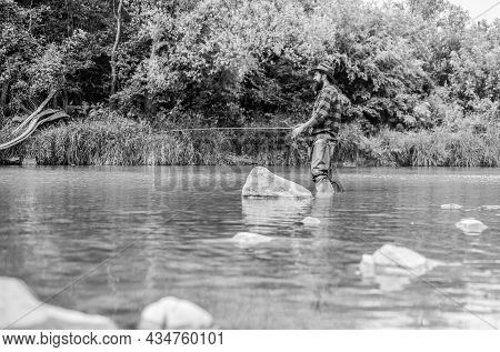 Good Things Come To Those Who Bait. Fisherman With Fishing Rod. Bearded Fisher. Hobby And Sport Acti