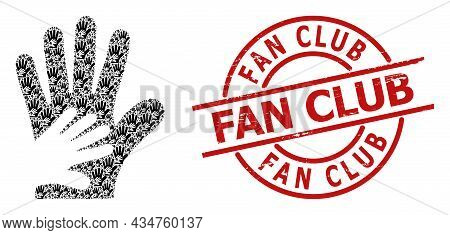 Red Round Seal Includes Fan Club Text Inside Circle. Vector Friend Hands Collage Is Organized From R