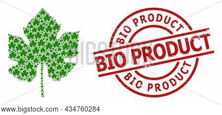Red Round Stamp Seal Contains Bio Product Tag Inside Circle. Vector Grape Leaf Composition Is Constr