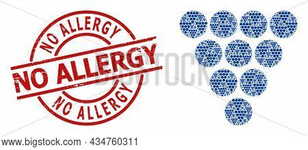 Red Round Stamp Has No Allergy Caption Inside Circle. Vector Grapes Mosaic Is Designed From Scattere
