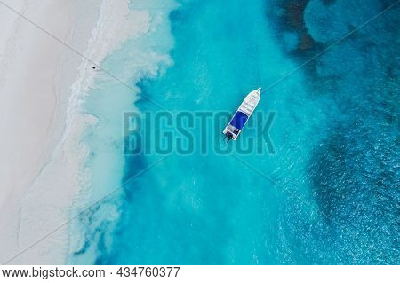 Beautiful Caribbean Beach On Saona Island, Dominican Republic. Aerial Abstract View Of Tropical Idyl