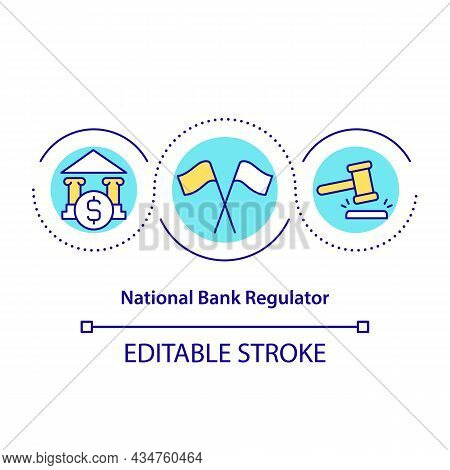 National Bank Regulator Concept Icon. Government Control. Secure Banking Business Operations Abstrac