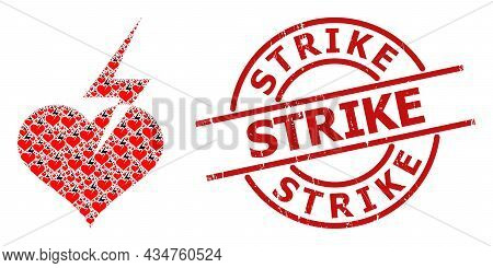 Red Round Stamp Seal Includes Strike Caption Inside Circle. Vector Heart Strike Composition Is Organ