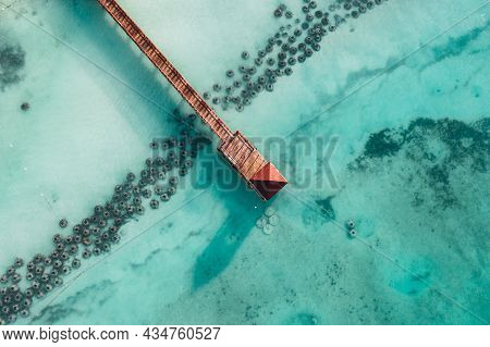 Beautiful Caribbean Beach In Dominican Republic. Aerial Abstract View Of Tropical Idyllic Summer Lan