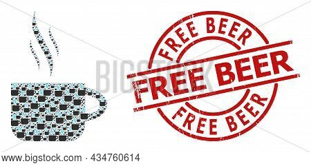 Red Round Stamp Includes Free Beer Title Inside Circle. Vector Hot Tea Cup Mosaic Is Made Of Randomi