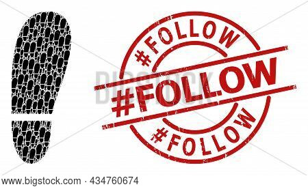 Red Round Stamp Seal Contains Hash Follow Tag Inside Circle. Vector Human Foot Print Composition Is