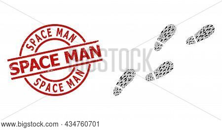 Red Round Seal Includes Space Man Tag Inside Circle. Vector Human Footprints Trail Composition Is Co
