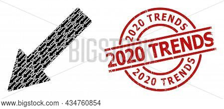 Red Round Seal Has 2020 Trends Text Inside Circle. Vector Left Down Arrow Composition Is Done From R