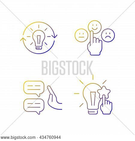 Logical And Rational Thinking Linear Vector Icons Set. Emotional Maturity. Skeptical View. Informati
