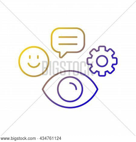 Observation Skills Gradient Linear Vector Icon. Ability To Analyze And Predict Problems. Recognize A