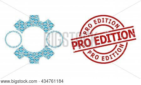Red Round Stamp Seal Has Pro Edition Tag Inside Circle. Vector Nanobot Composition Is Created Of Ran
