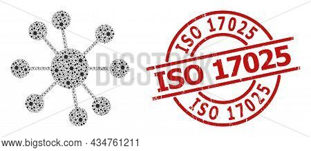 Red Round Stamp Seal Includes Iso 17025 Tag Inside Circle. Vector Node Relations Collage Is Composed