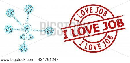 Red Round Stamp Has I Love Job Caption Inside Circle. Vector Operator Relations Fractal Is Construct