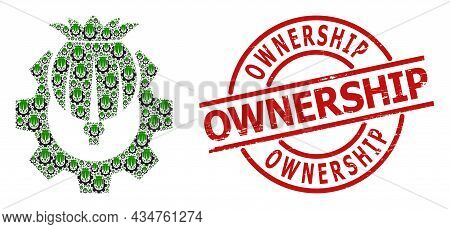 Red Round Badge Contains Ownership Caption Inside Circle. Vector Opium Industry Collage Is Made Of S