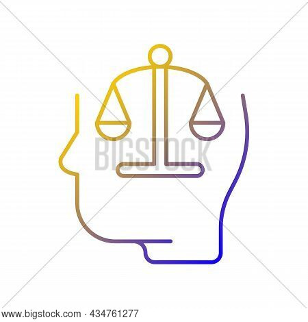 Rationality Gradient Linear Vector Icon. Logic And Critical Thinking. Rational And Emotional Mind. A