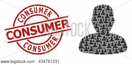 Red Round Stamp Seal Has Consumer Title Inside Circle. Vector Person Profile Fractal Is Composed Wit