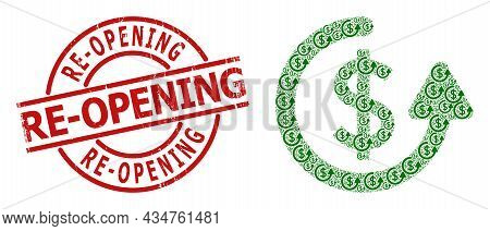 Red Round Seal Includes Re-opening Text Inside Circle. Vector Repeat Payment Fractal Is Composed Fro