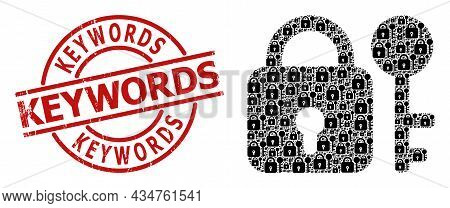 Red Round Stamp Seal Includes Keywords Title Inside Circle. Vector Secrecy Composition Is Created Fr