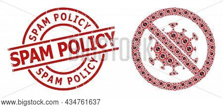 Red Round Stamp Includes Spam Policy Tag Inside Circle. Vector Stop Covid Virus Collage Is Made From
