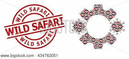 Red Round Seal Contains Wild Safari Tag Inside Circle. Vector Virus Nanobot Mosaic Is Organized From