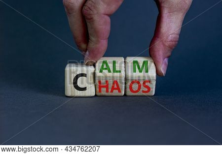 Stop Chaos, Time To Calm. The Words 'chaos' And 'calm' On Wooden Cubes. Beautiful Grey Background, C