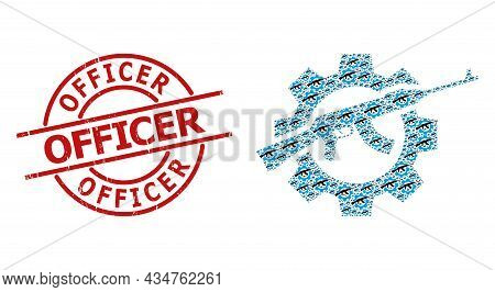 Red Round Stamp Seal Has Officer Tag Inside Circle. Vector Weapon Industry Collage Is Formed Of Repe
