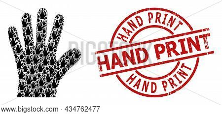 Red Round Stamp Includes Hand Print Tag Inside Circle. Vector Hand Palm Fractal Is Composed From Ran