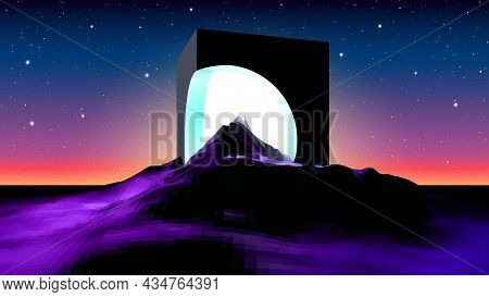Abstract Alien Landscape With Mysterious Ruins Of Cube Building And Shiny Light Inside. Science Fict