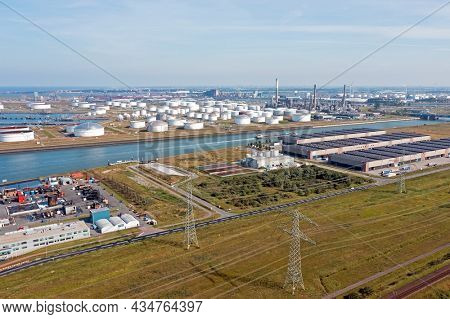 Aerial from industry in the harbor from Rotterdam in the Netherlands