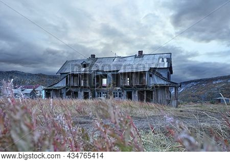 Abandoned Wooden House In The Village Of Teriberka In The Harsh Northern Territory Of Russia