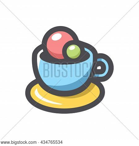 Coffee Ice Cream Cup Vector Icon Cartoon Illustration