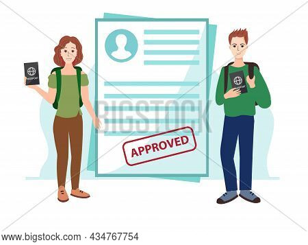 The Form Of An Approved Visa. Happy People Keep A Foreign Passport. Students Will Study In Another C