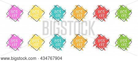 Set Of Colored Grunge Stickers With A 80 And 85 Percent Discount For Business, Sales, Advertising Pr