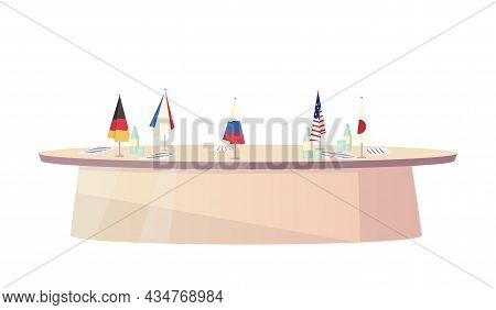 Flat Icon With Oval Table For Political Negotiations With Flags Of Different Countries Vector Illust