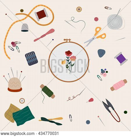 Needlework Concept Vector Illustration. Set Of Embroidery Elements, Embroidery Frame Or Hoop, Thread