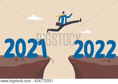 Year 2022 Hope, New Year Resolution Or Success Opportunity, Change To New Business Bright Future, Ov