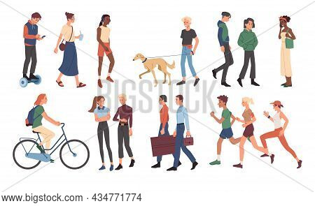 Set With Various Male And Female Characters Walking Together On White Background. People Casually Wa