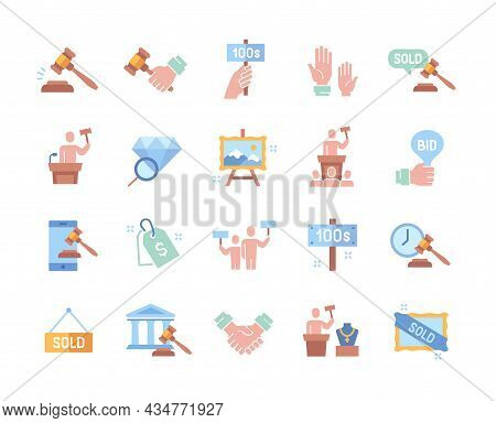 Set Of Colorful Essential Auction Elements Isolated On White Background. Colored Templates Of Price