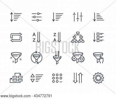 Set Of Sorting And Filtering Related Linear Icons On White Background. Templates Of Data Processing,