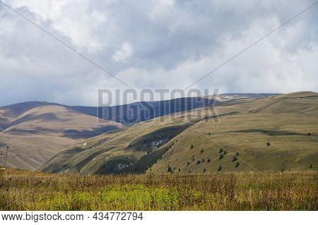 Caucasus Alpine Meadow And Mountains Landscape In Chechnya, Russia. Vedeno District Of The Chechen R