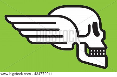Winged Skull Vector Badge Design. Vector Illustration Of Human Skull With Wings In Profile View. Mod