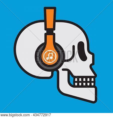 Skull Wearing Headphones Music Badge Design. Vector Illustration Of Human Skull Listening To Music W