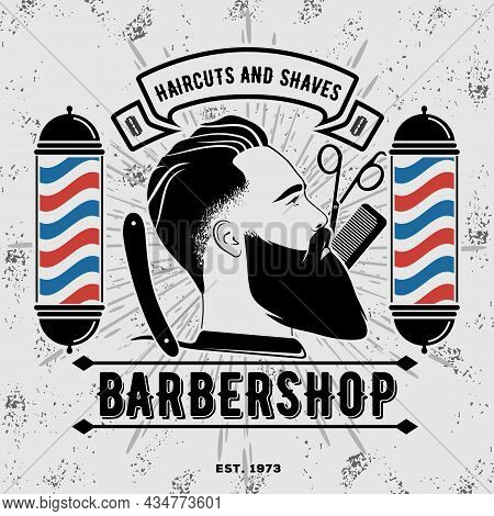 Barbershop Logo Design Concept With Barber Pole