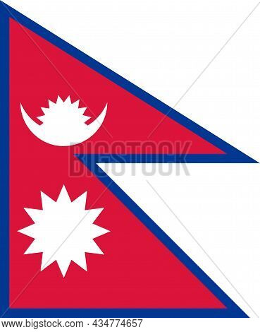 National Flag Federal Democratic Republic Of Nepal - Vector, Emblem Of The Crescent Moon With Eight