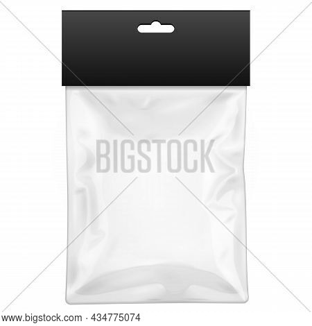 Mockup Black Blank Plastic Pocket Bag With Shadow. Transparent. With Hang Slot. Illustration Isolate