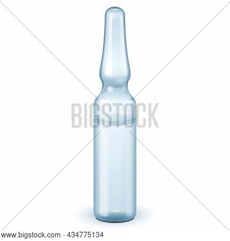 Mockup Medical Blue Gray Glass Ampoule, Isolated On White Background. Mock Up Template Ready For You
