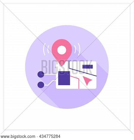 Navigator Flat Icon. Navigation System. Gps Assistant. Digital Smart Technologies Concept. Color Vec