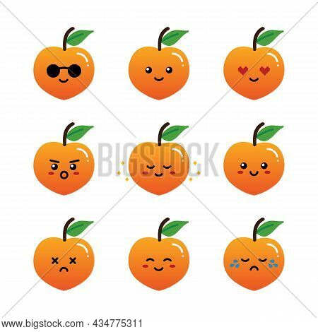 Set, Collection, Pack Of Peach Emoji, Vector Cartoon Style Icons Of Peach Fruits Characters With Dif