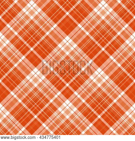 Seamless Pattern In Bright Orange And White Colors For Plaid, Fabric, Textile, Clothes, Tablecloth A